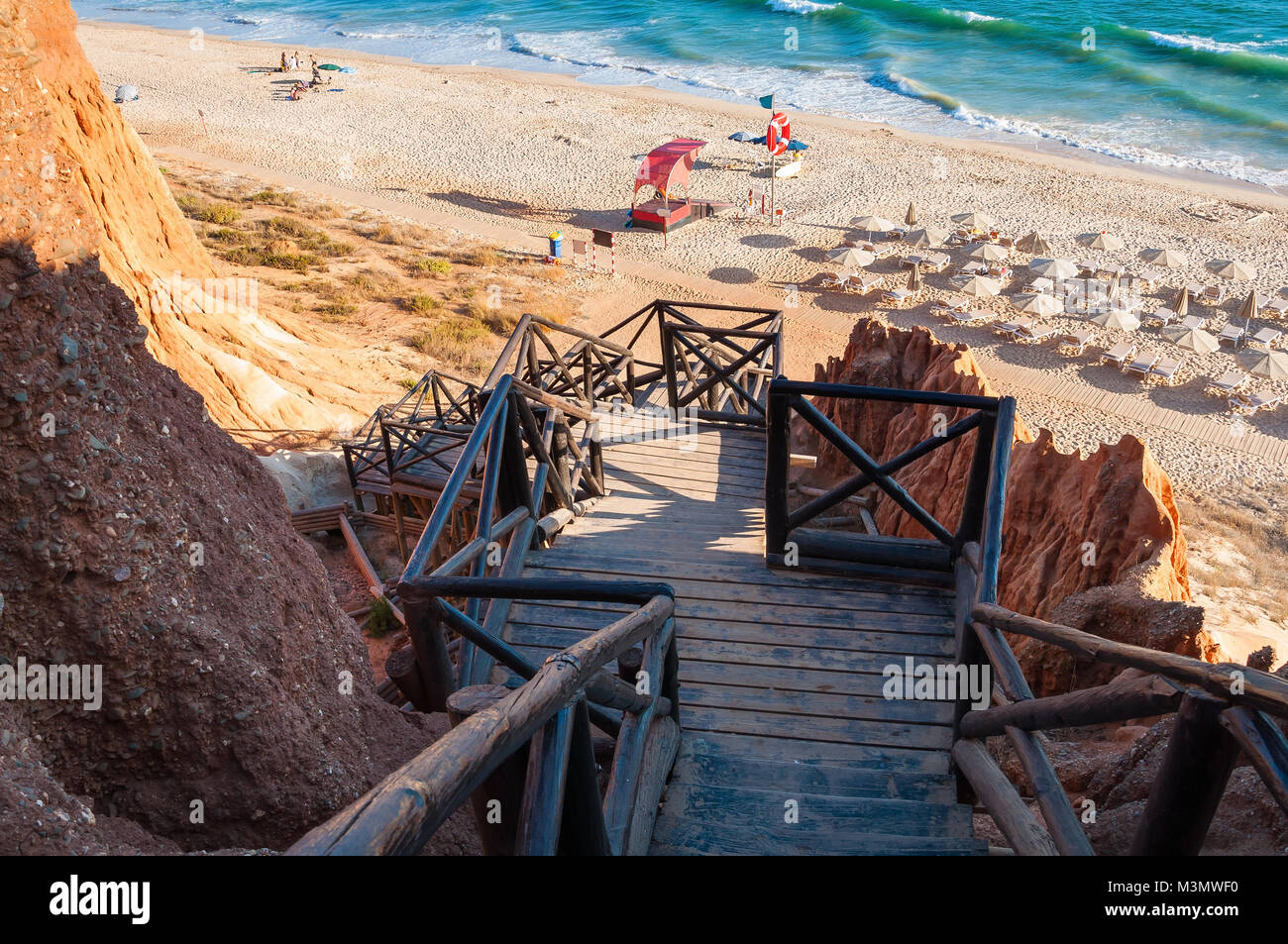 Wooden stairs to Falesia Beach, Algarve, Portugal Stock Photo