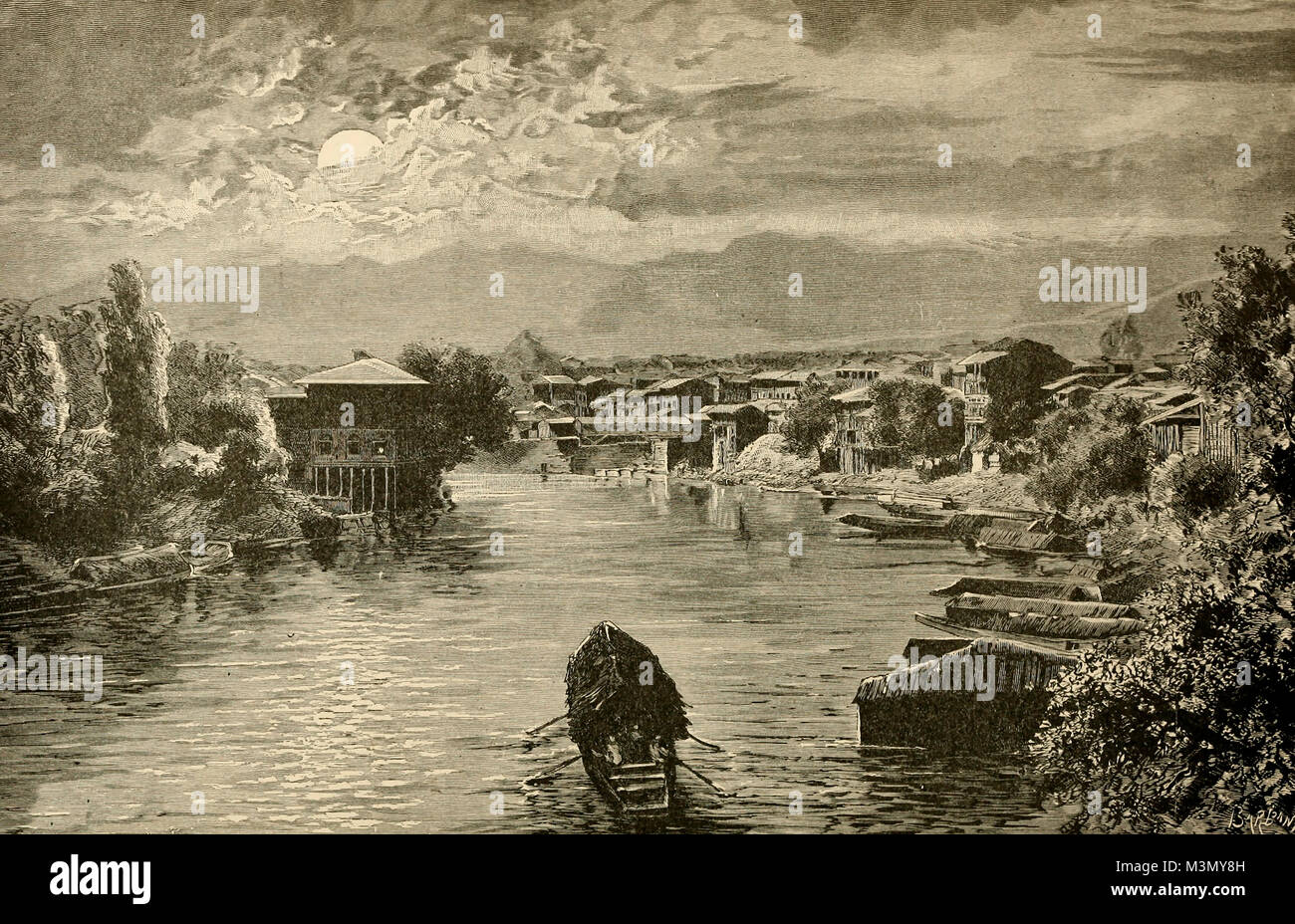 Boating by Moonlight on the Indus River, circa 1800 - Stock Image