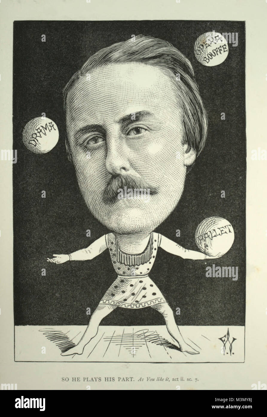 Caricature of John Hollingshead, English theatrical impresario, journalist and writer during the latter half of - Stock Image