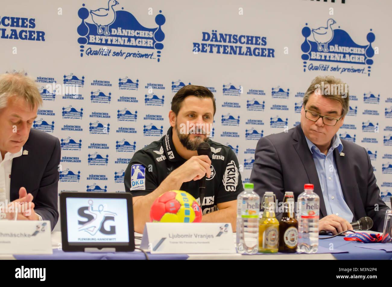 Pressekonferenz des Handball-Bundesligist SG Flensburg-Handewitt am 30.10.2016 in der Flenst-Arena in Flensburg; - Stock Image