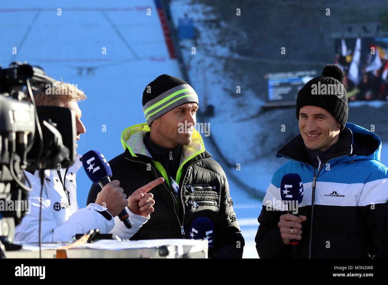 Einst gemeinsam auf der Schanze erfolgreich - nun gemeinsam als Skisprung- Experten bei Eurosport im Einsatz: v.li. Stock Photo
