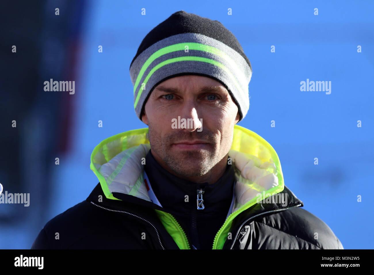 Sven Hannawald (Ex-Skispringer, TV Experte, Eurosport, Skisprung-Experte, Vierfach-Tourneesieger, 2002) beim  Neujahrsskispringen Stock Photo