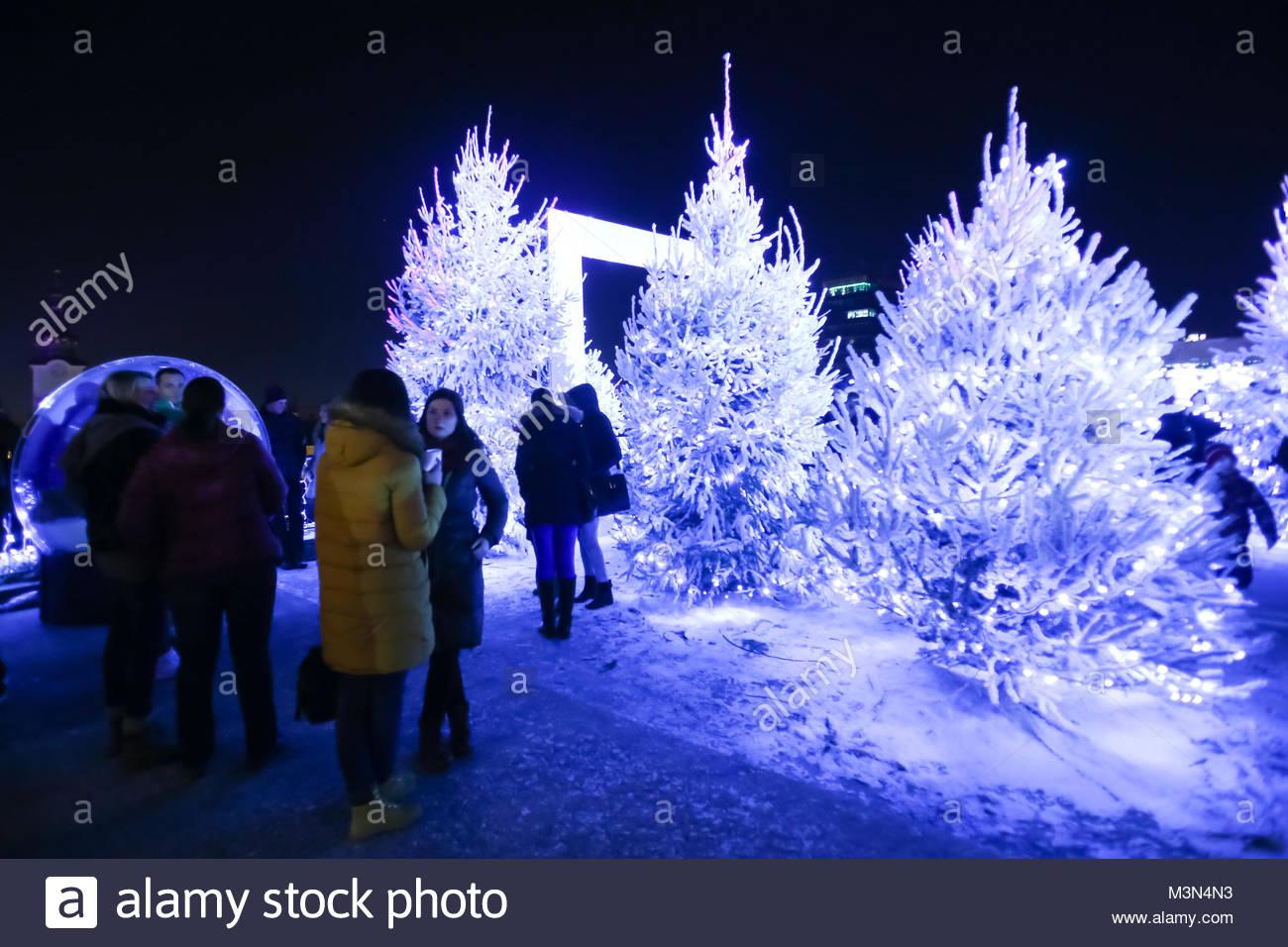ZAGREB, CROATIA - DECEMBER 1th, 2016: Advent time in city center of Zagreb, Croatia. People gathering in the upper Stock Photo