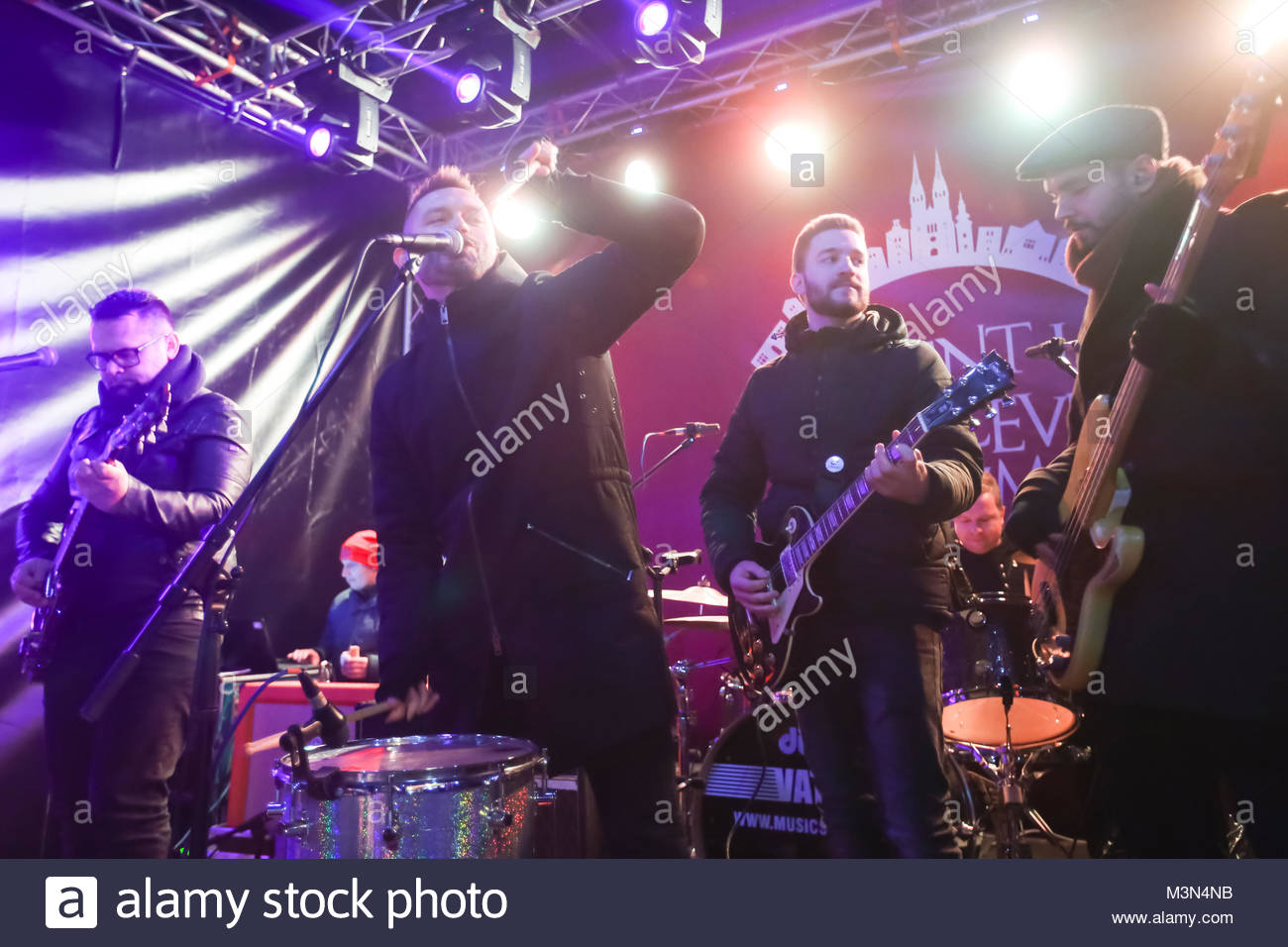 ZAGREB, CROATIA - DECEMBER 1th, 2016: Advent time in city center of Zagreb, Croatia. Famous croatian rock band Vatra Stock Photo