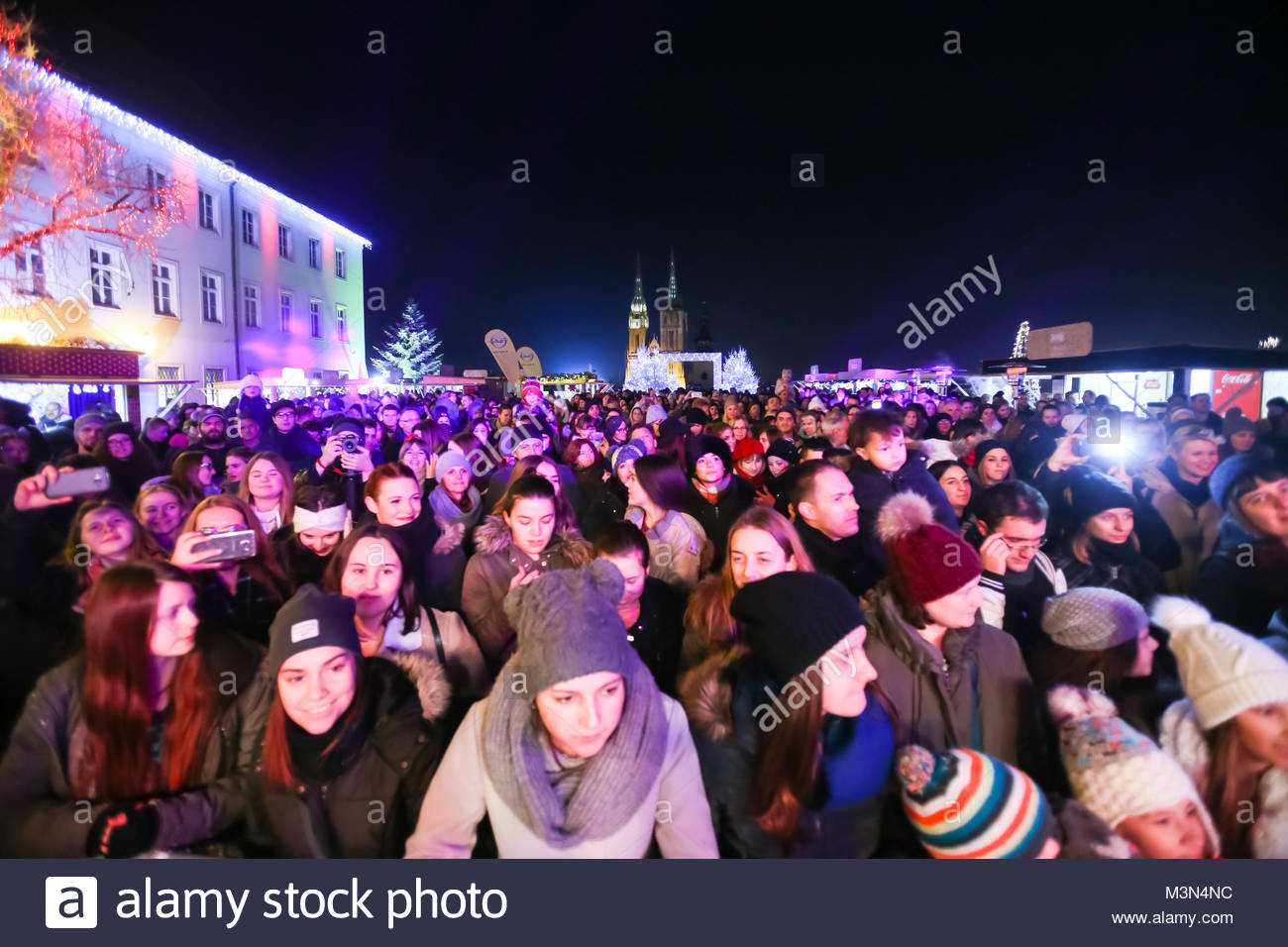 ZAGREB, CROATIA - DECEMBER 1th, 2016: Advent time in city center of Zagreb, Croatia. The audience at the famous Stock Photo