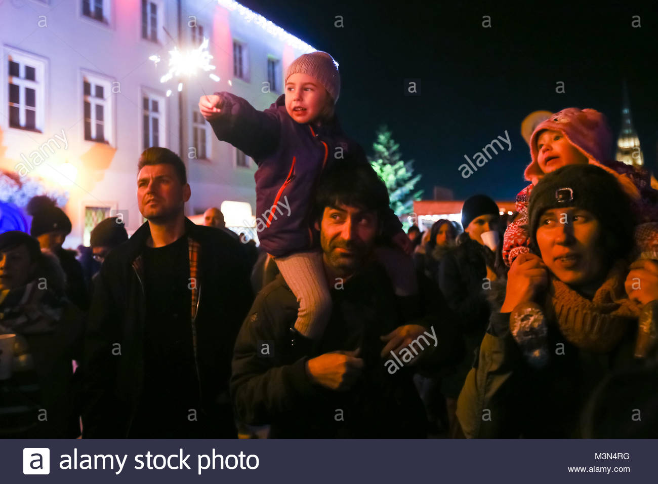 ZAGREB,CROATIA - DECEMBER 1, 2016: Parents with children in the audience at the famous croatian rock band Vatra Stock Photo