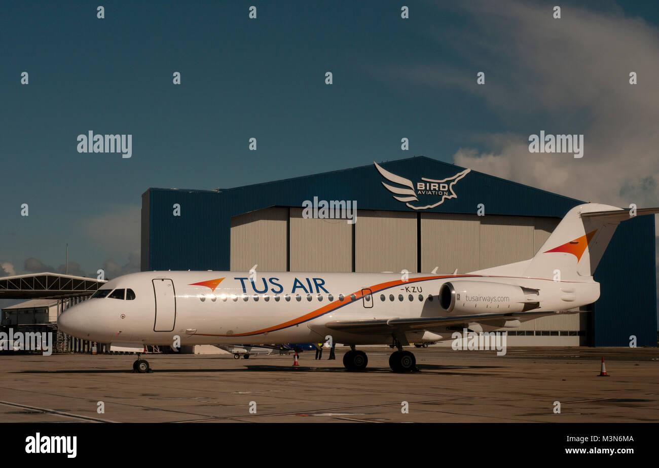 A TUS Air Fokker 100 at Larnaka airport - Stock Image