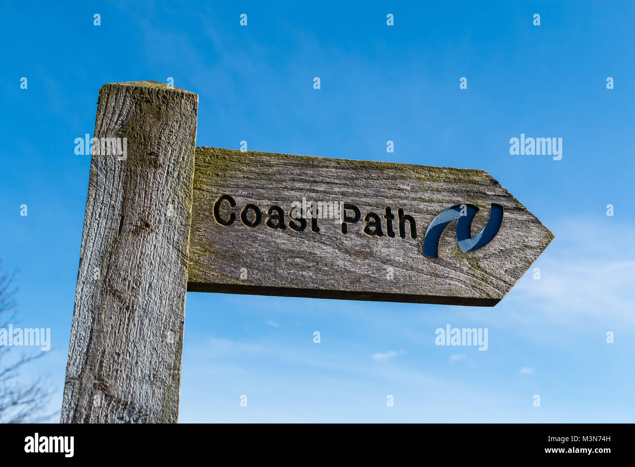 Coast path signpost with emblem of the Northumberland Coast long distance footpath against a clear blue sky background, - Stock Image