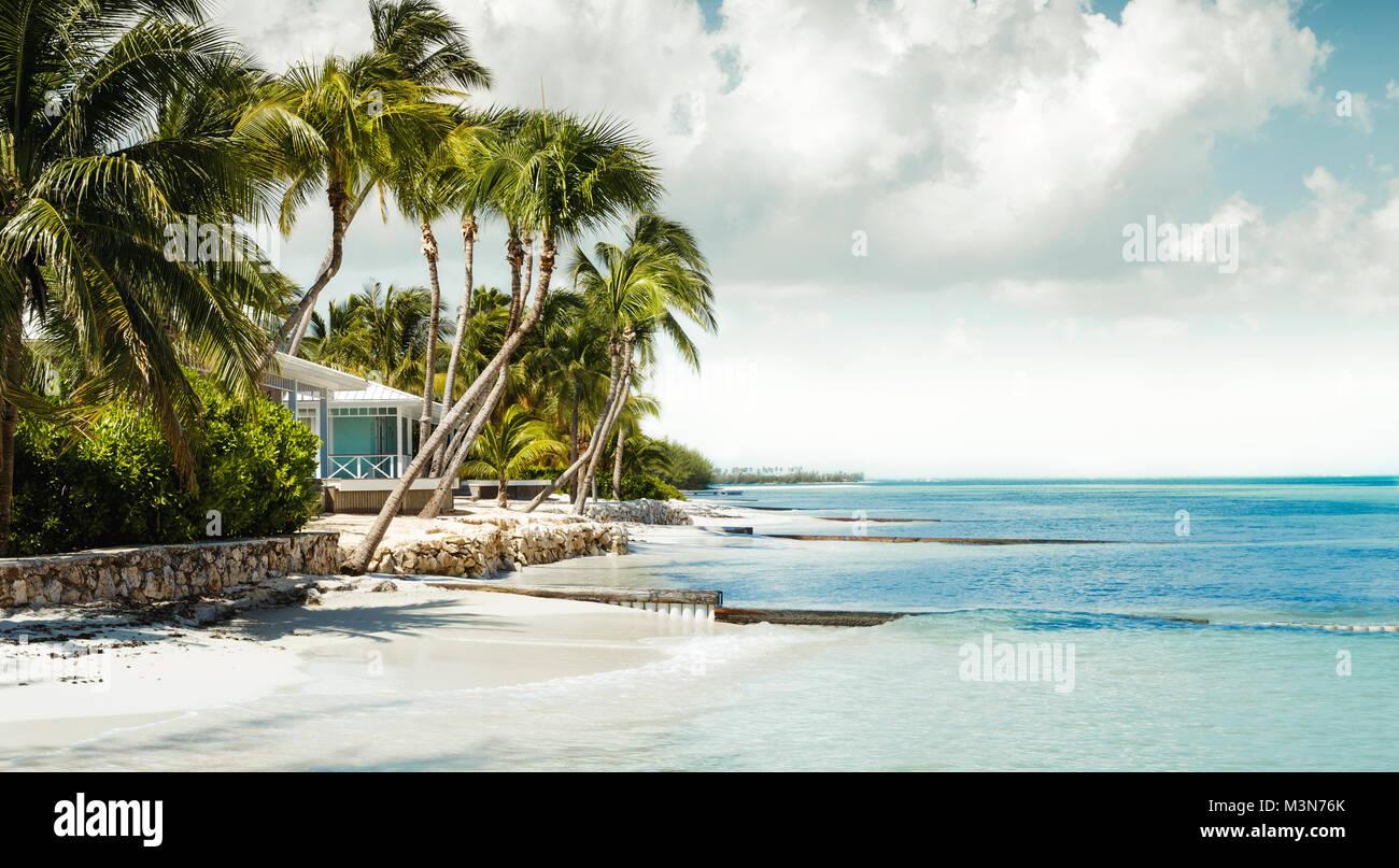 Panorama of paradise beach on Grand Cayman - Stock Image