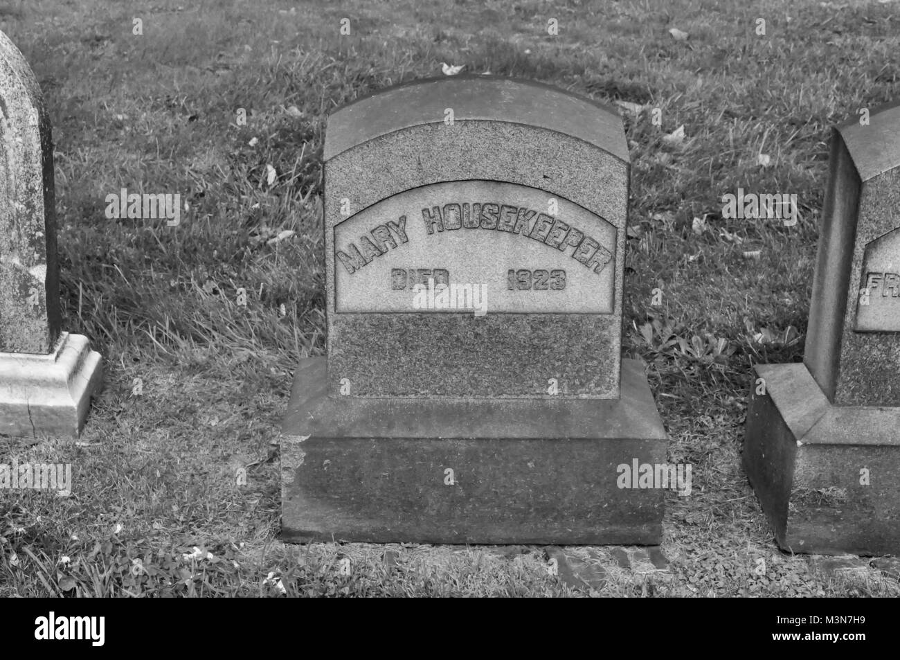 Gravestone for Mary Housekeeper in a Cemetery Stock Photo