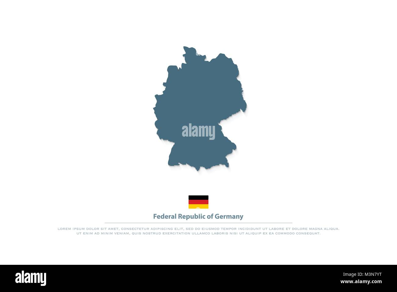 federal republic of germany map and official flag icon vector german political map logo european state geographic banner template deutschland