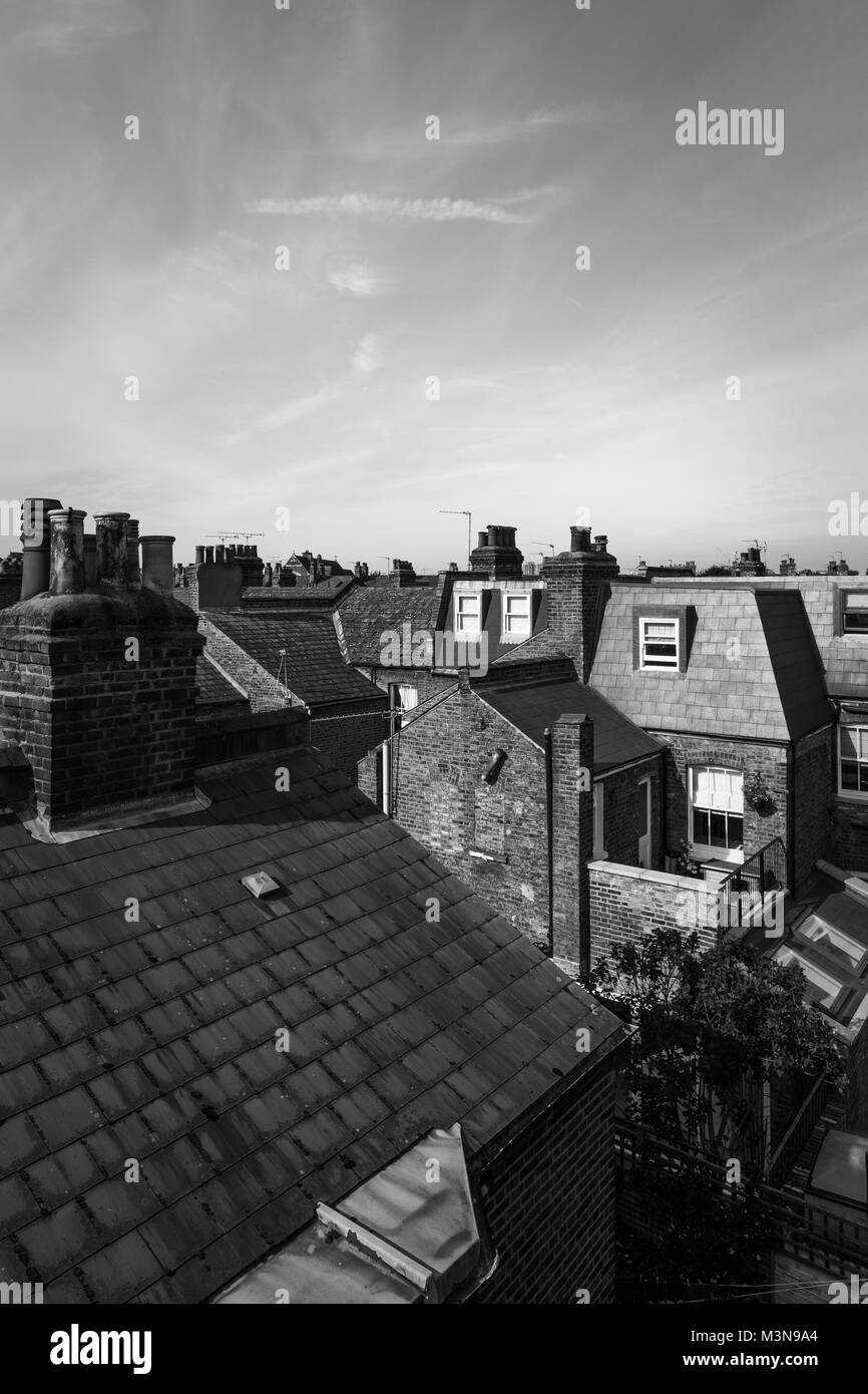 London Victorian House Roofs - Stock Image