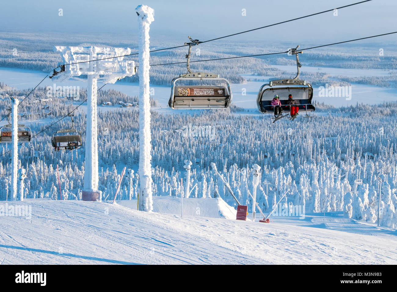 Chairlifts at The ski resort of Ruka in Finland - Stock Image