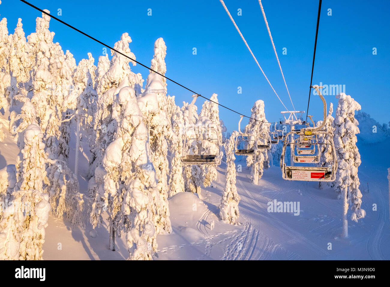 Chairlift at The ski resort of Ruka in Finland - Stock Image