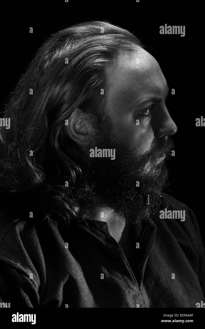 A viking's profile in black and white. - Stock Image