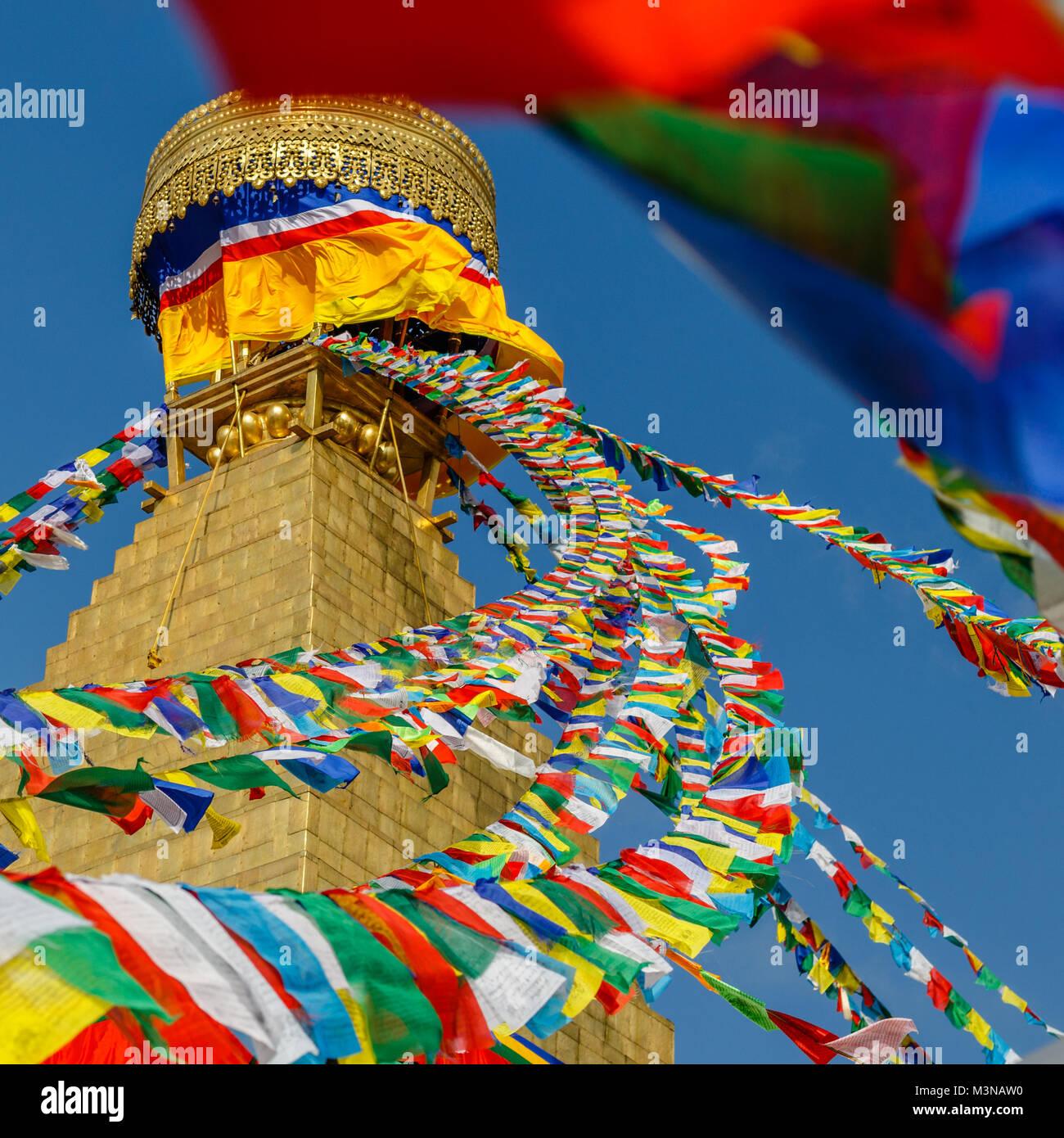 Boudhanath stupa with prayer flags, Kathmandu, Nepal. Square image. - Stock Image