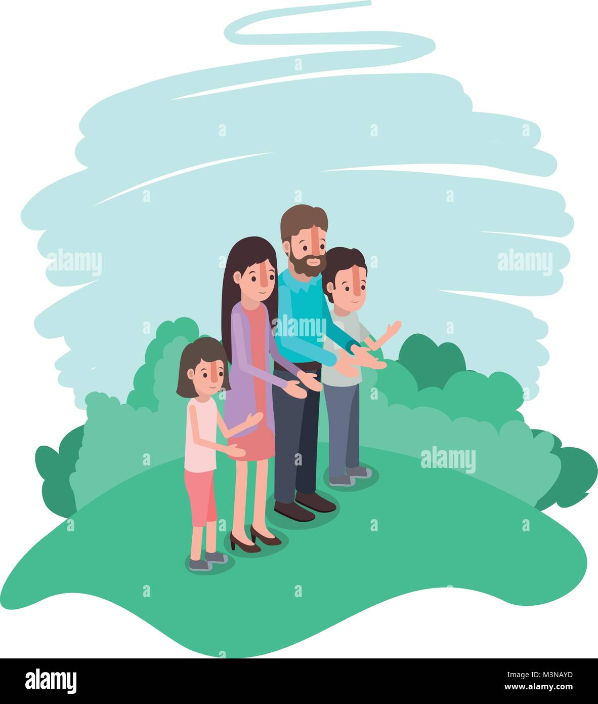 family members in the field - Stock Vector
