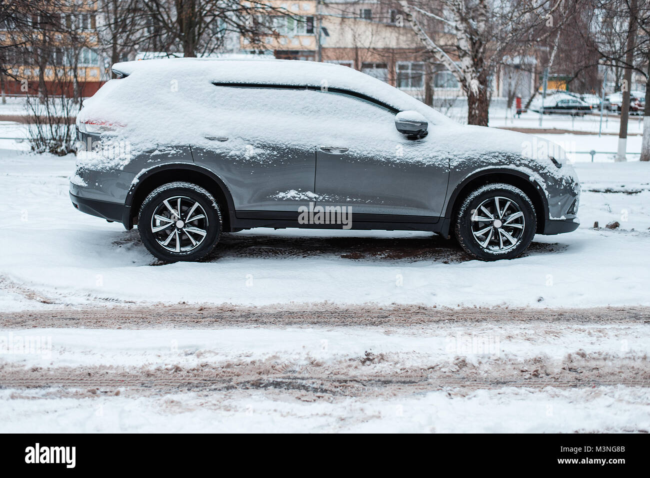 The Car In The Snow, Covered With A White Snowdrift.   Stock Image