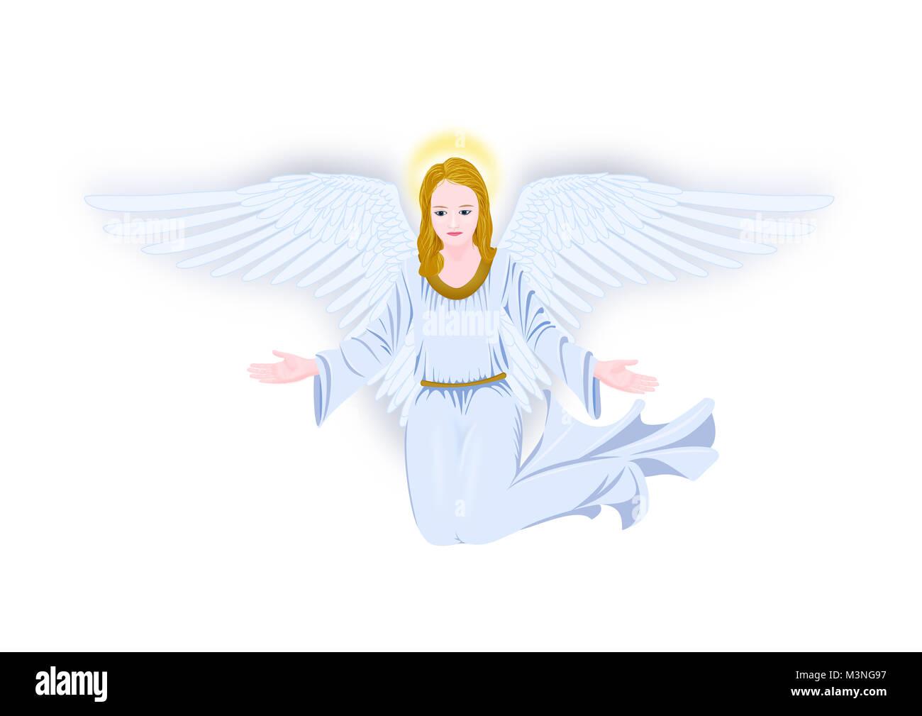 Grieving angel illustration on white - Stock Image