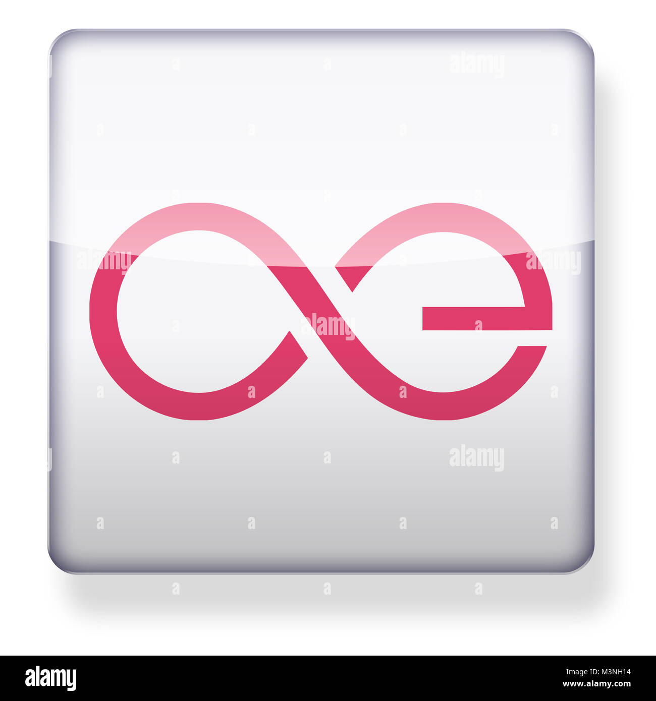 aeternity cryptocurrency AE logo as an app icon. Clipping path included. - Stock Image