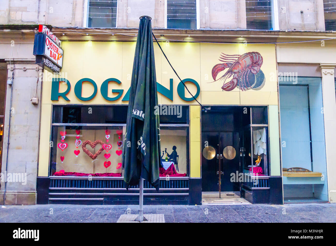 Exterior view of the famous Rogano Seafood Restaurant, Exchange Place, Glasgow, Scotland, UK - Stock Image