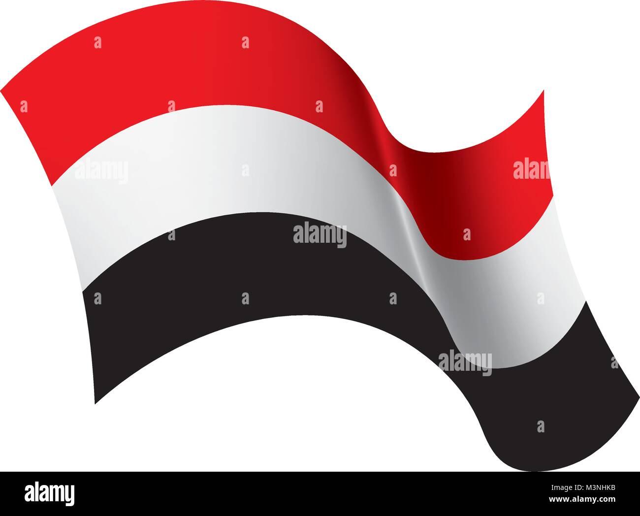 Yemeni flag, vector illustration - Stock Image
