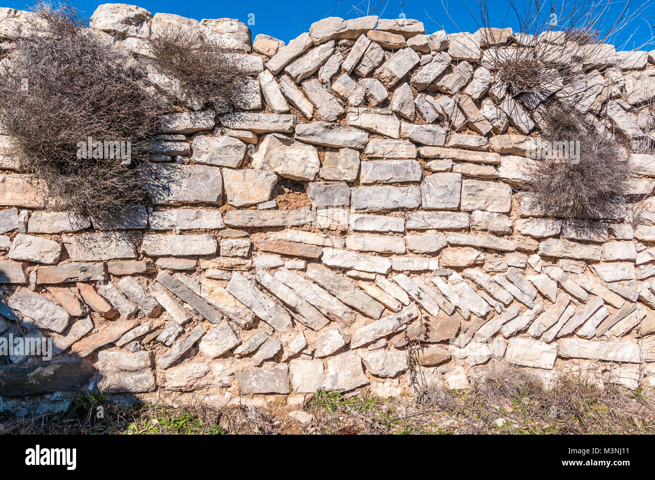construction example, opus spicatum, type of masonry, roman and medieval times - Stock Image