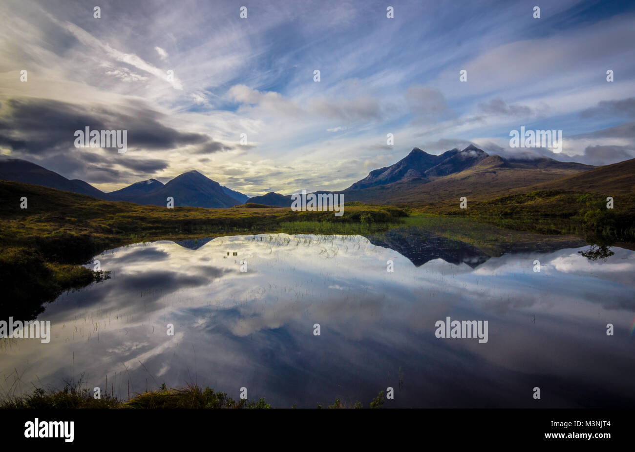The Cuillin Mountains Reflected, Isle of Skye, Scotland - Stock Image