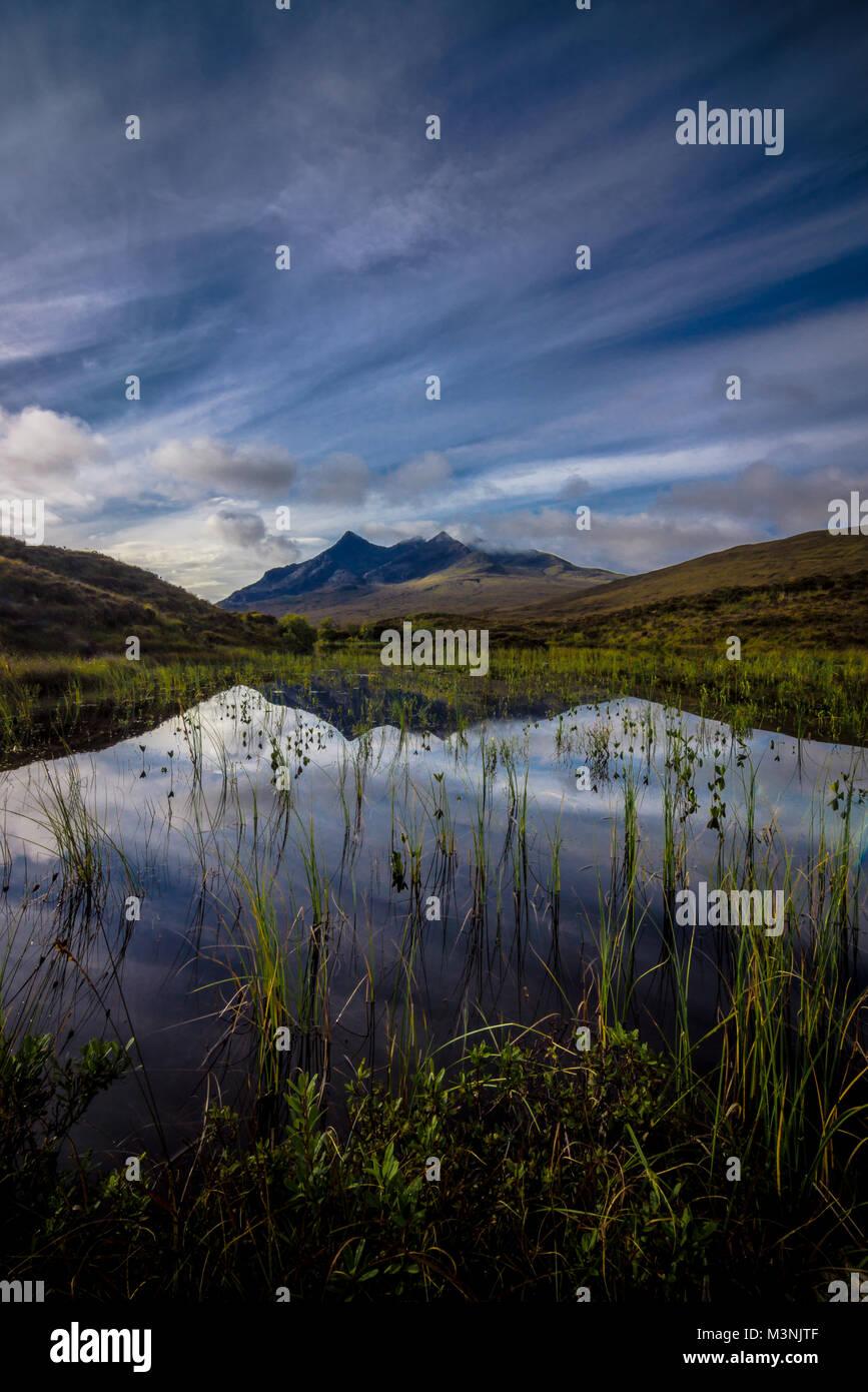 The Cuillin Ridge Reflected, Isle of Skye - Stock Image