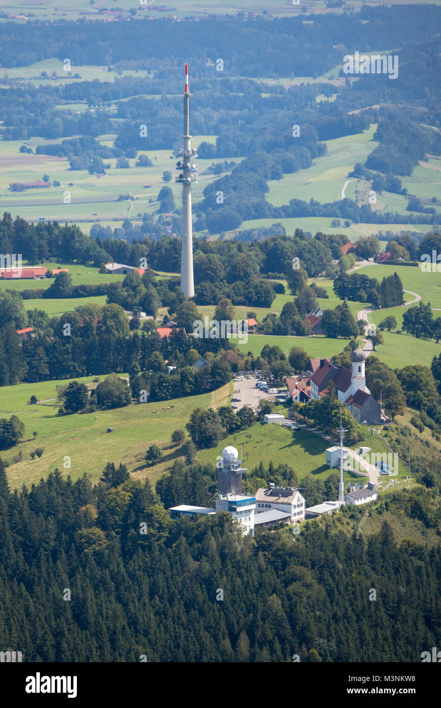 Aerial view of German Weather Service Meteorological Observatory, pilgrimage church of the Assumption, and radio - Stock Image