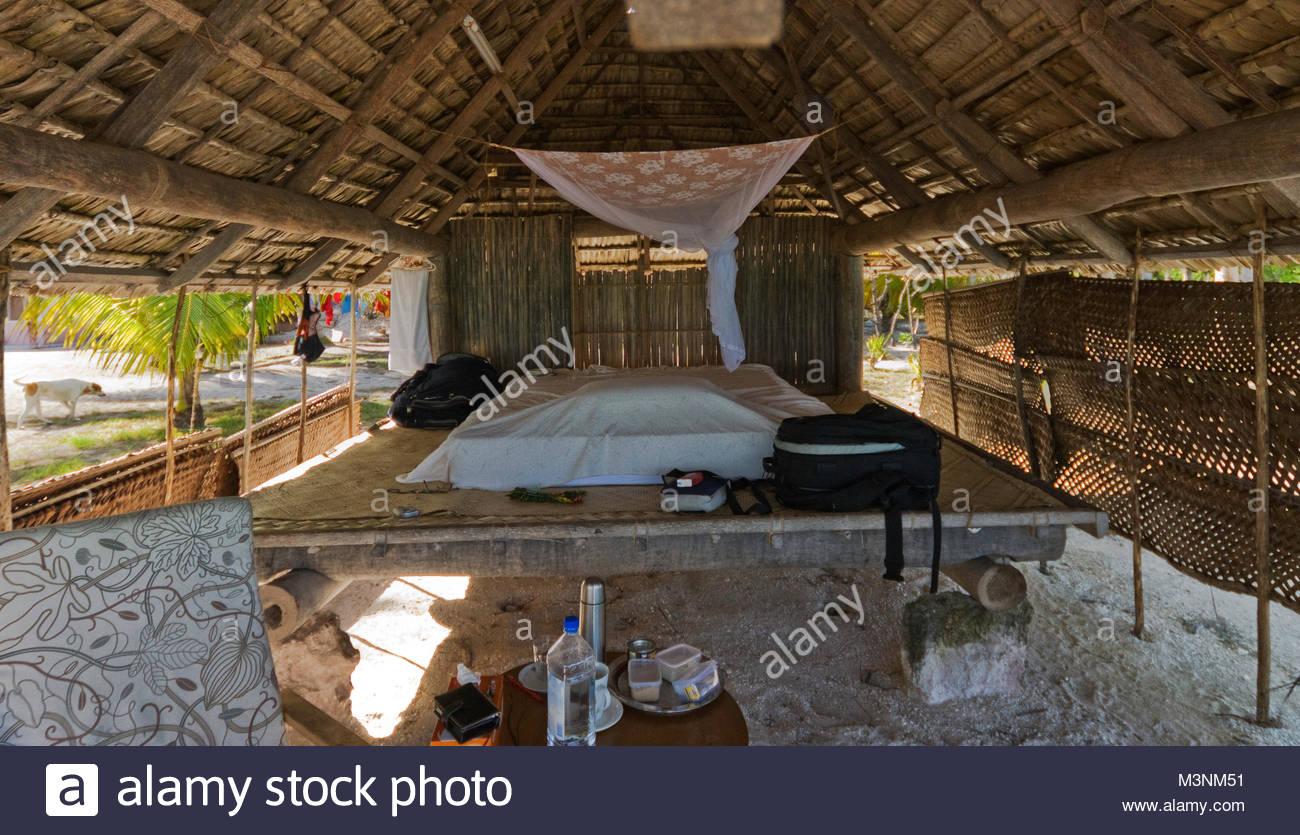 Inside the Kiribati hut - Stock Image