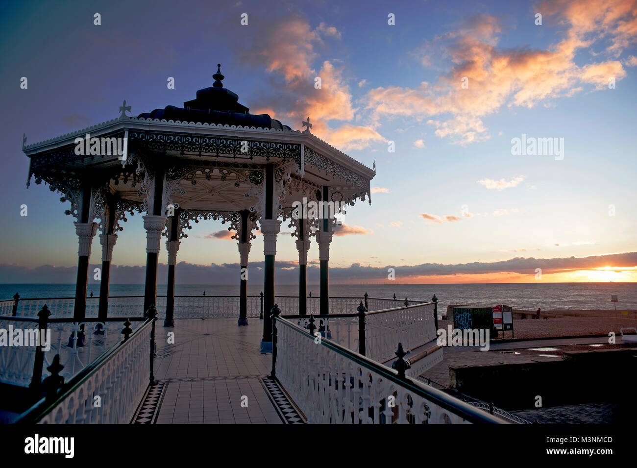 The Victorian Bandstand on Brighton and Hove's seafront first opened in 1884. It was restored to its original - Stock Image