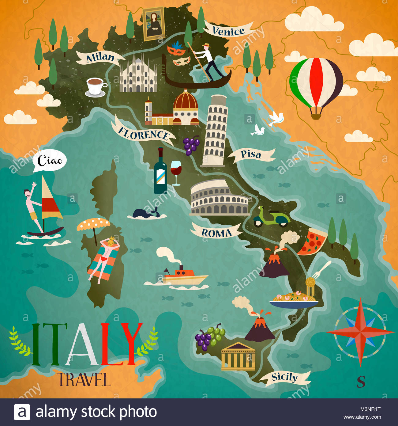 colorful Italy travel map with attraction symbols compass sign and