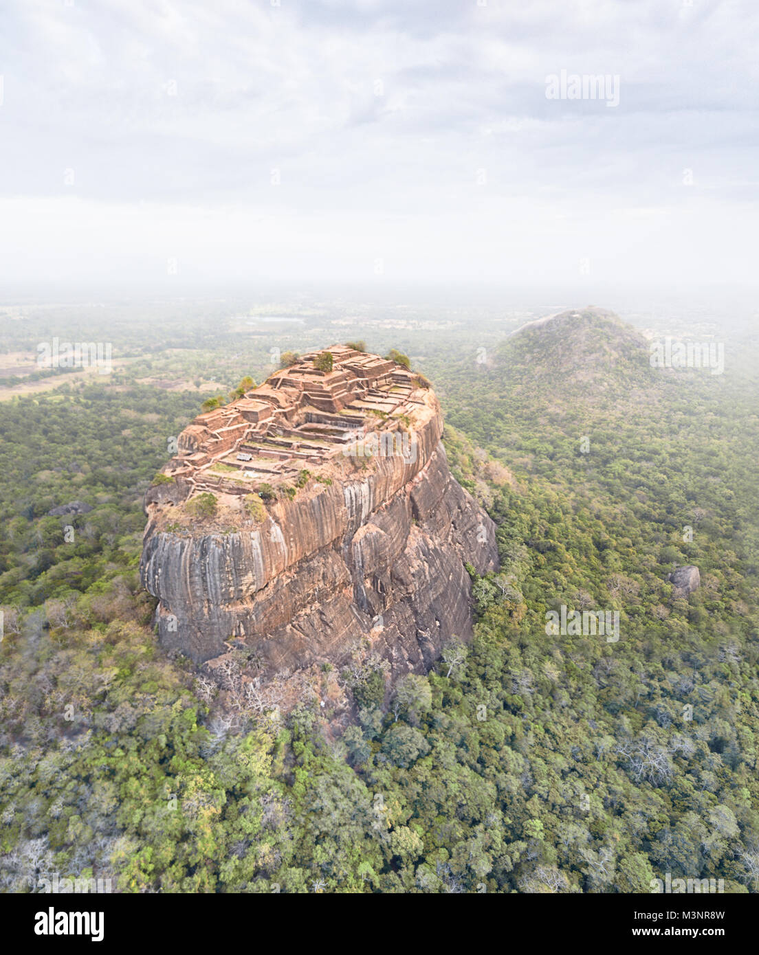 Sigiriya rock lion rock Sri Lanka drone picture ancient city citadel town fortress - Stock Image