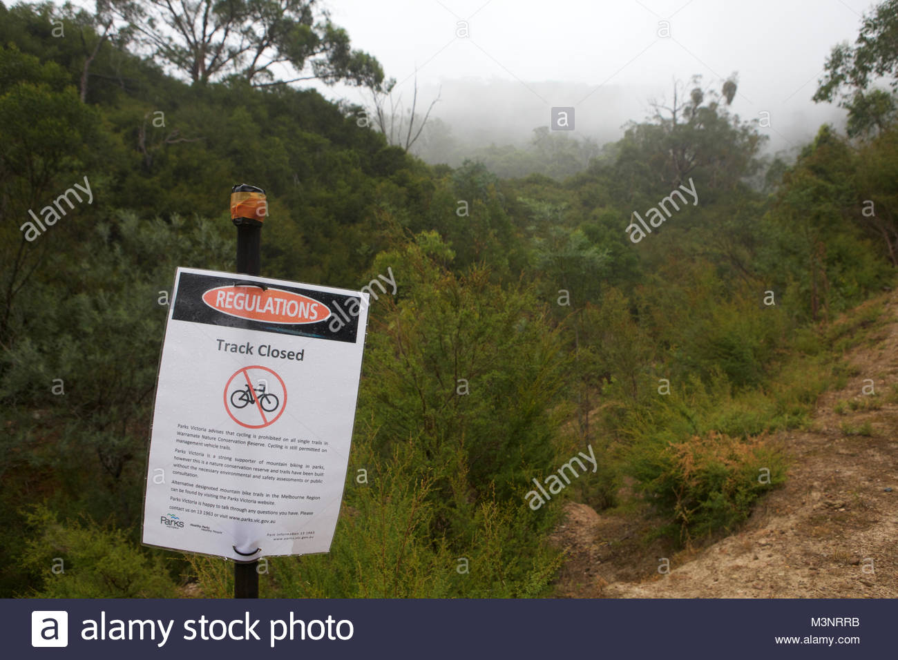 Closed MTB Single Track - landscape format - Stock Image