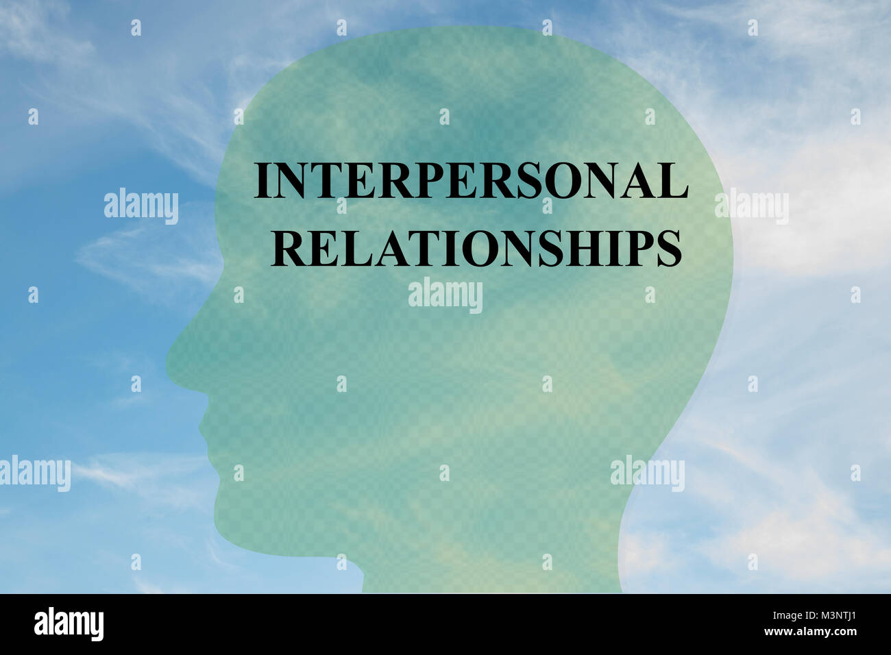 Render illustration of INTERPERSONAL RELATIONSHIPS title on head silhouette, with cloudy sky as a background. - Stock Image