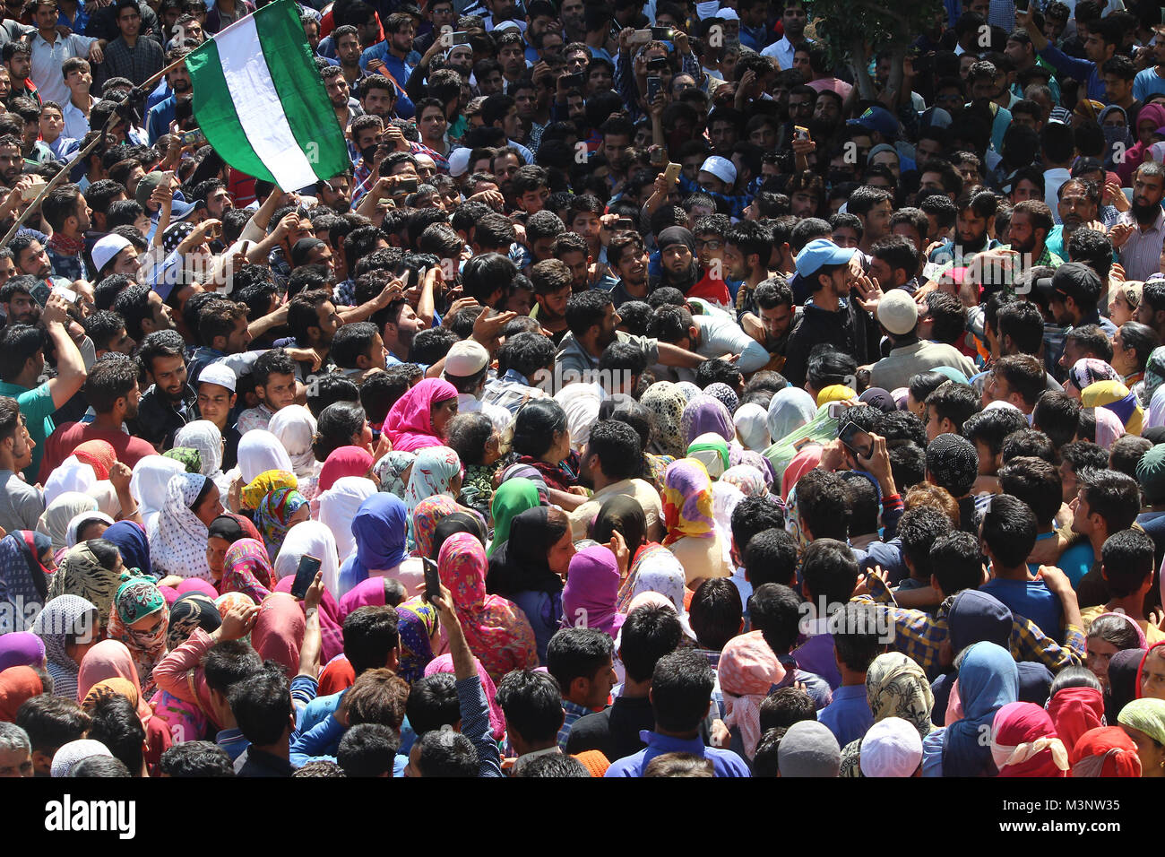people in slain rebels funeral procession, Sopore town, Kashmir, India, Asia Stock Photo