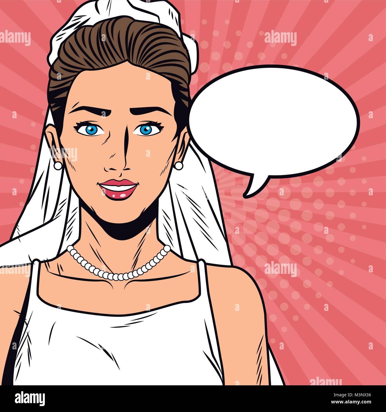 Beautiful bride pop art cartoon Internet Security, baniking online - Stock Image