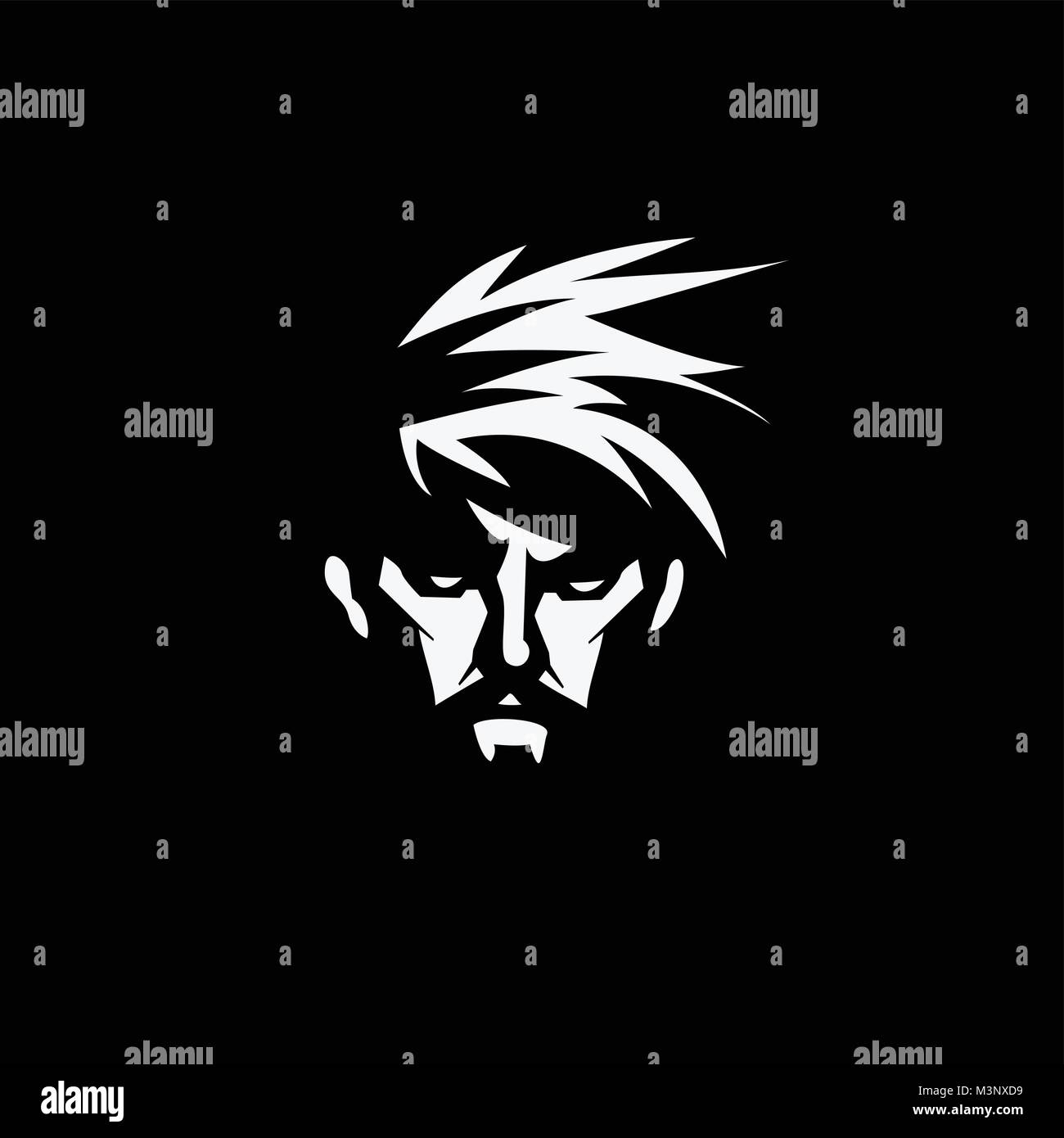 Face of a bearded man vector illustration. - Stock Image