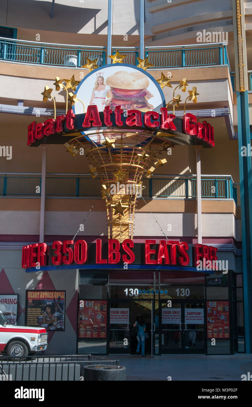 Las Vegas, Nevada. Heart Attack Grill. The hamburger restaurant with a menu that boasts unhealthy foods. - Stock Image