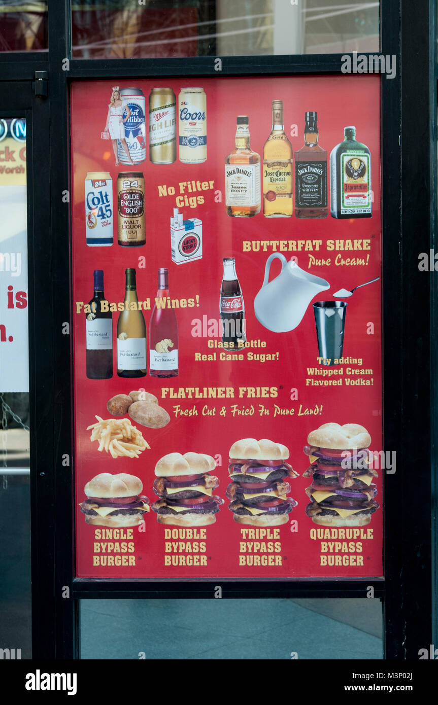 Las Vegas, Nevada. Heart Attack Grill. The menu showing all the unhealthy foods it serves. - Stock Image