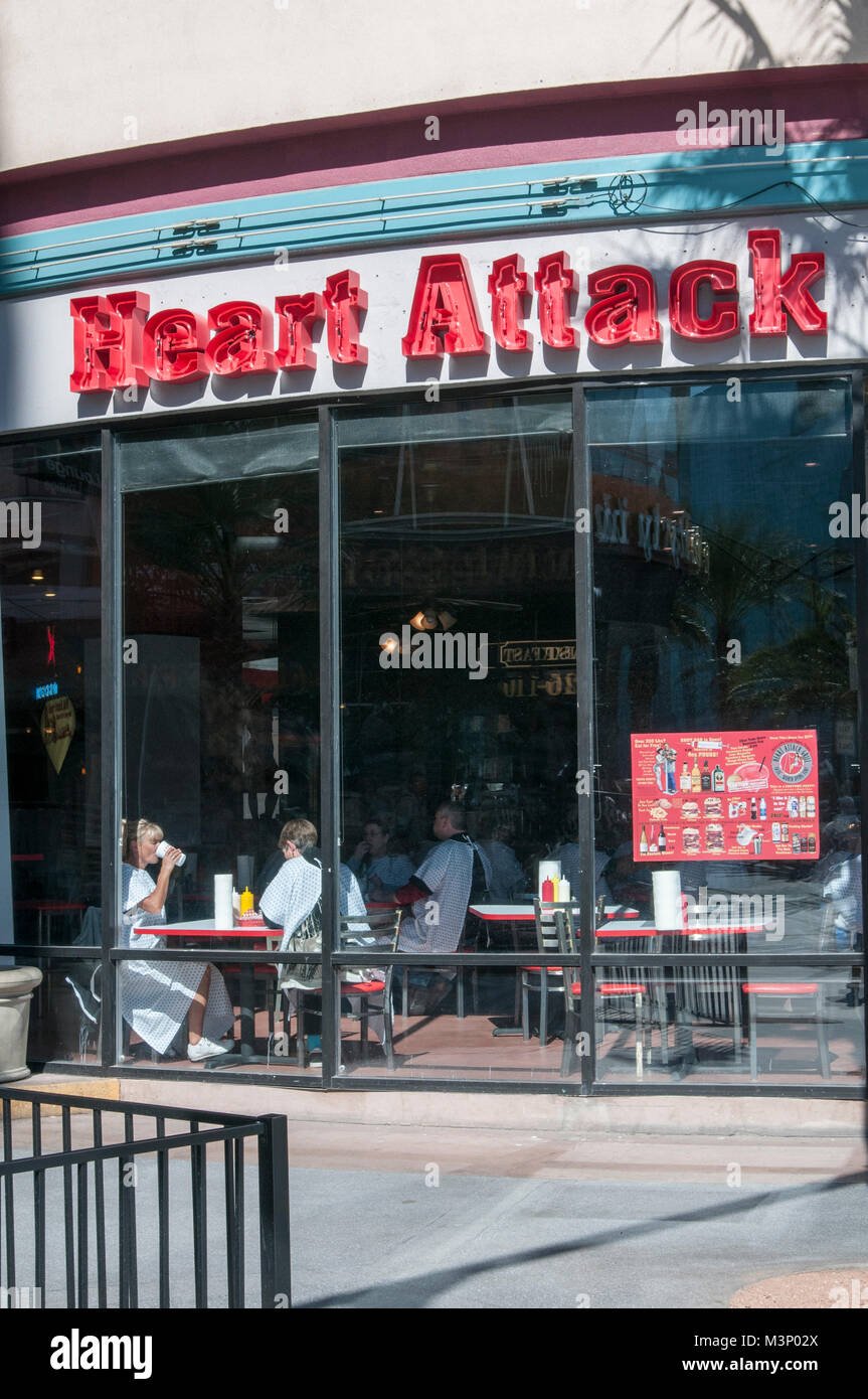 Las Vegas, Nevada. Heart Attack Grill. The hamburger restaurant with a menu that boasts unhealthy foods. Diners - Stock Image
