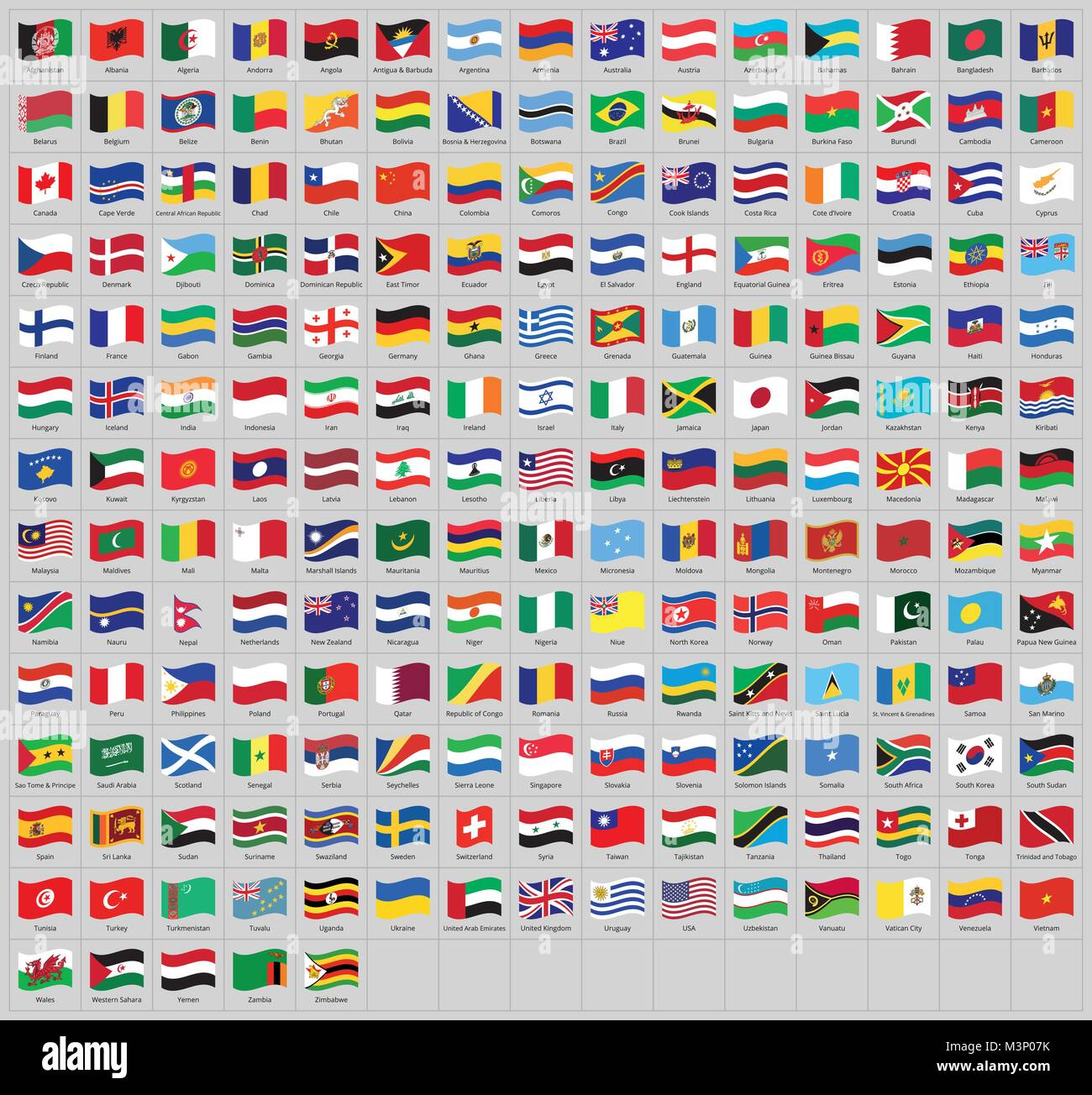 All national waving flags from all over the world with names - high quality vector flag isolated on gray background Stock Vector