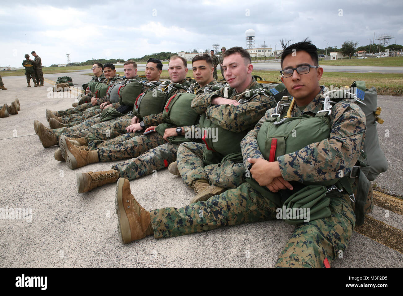 wetblog. LS island 004' Marines with Air Delivery Platoon, Landing Support Company, 3rd  Transportation Support Battalion, wait