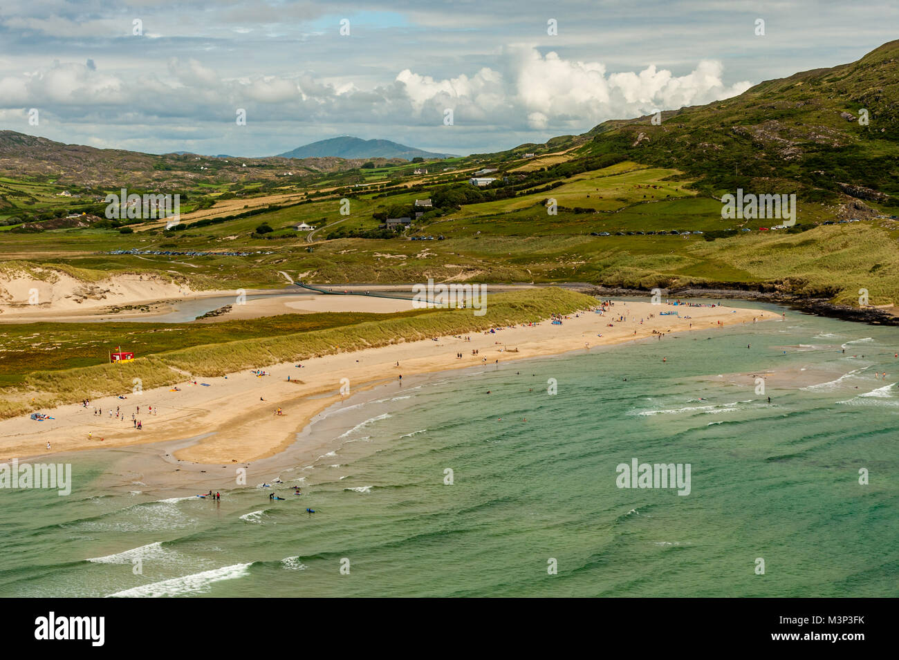 Barleycove Beach, County Cork, Ireland taken from an elevated position with Mount Gabriel in the background and Stock Photo