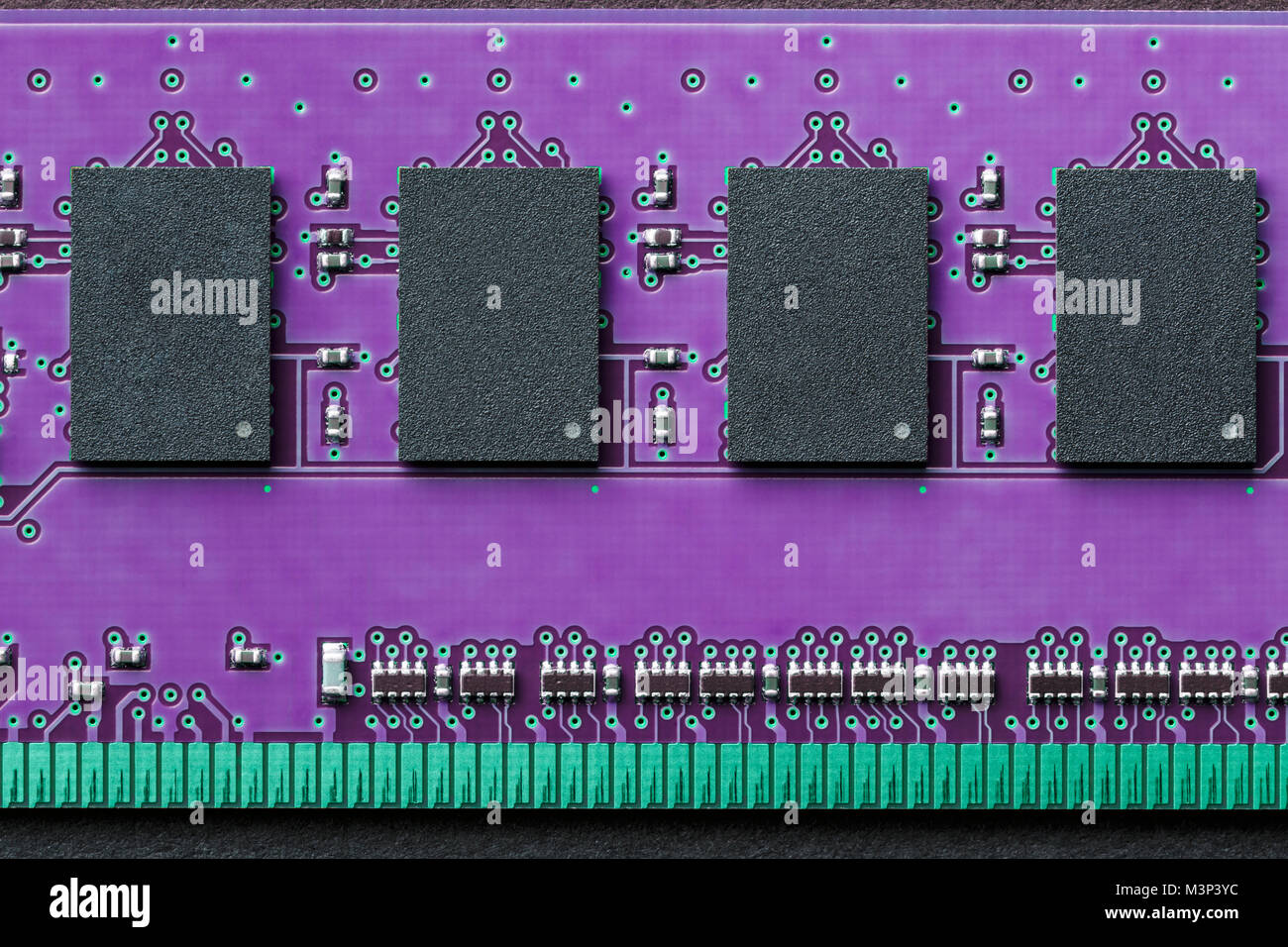 Horizontal flat lay graphic background border of DIMM RAM computer memory chip module in ultra violet ultraviolet - Stock Image