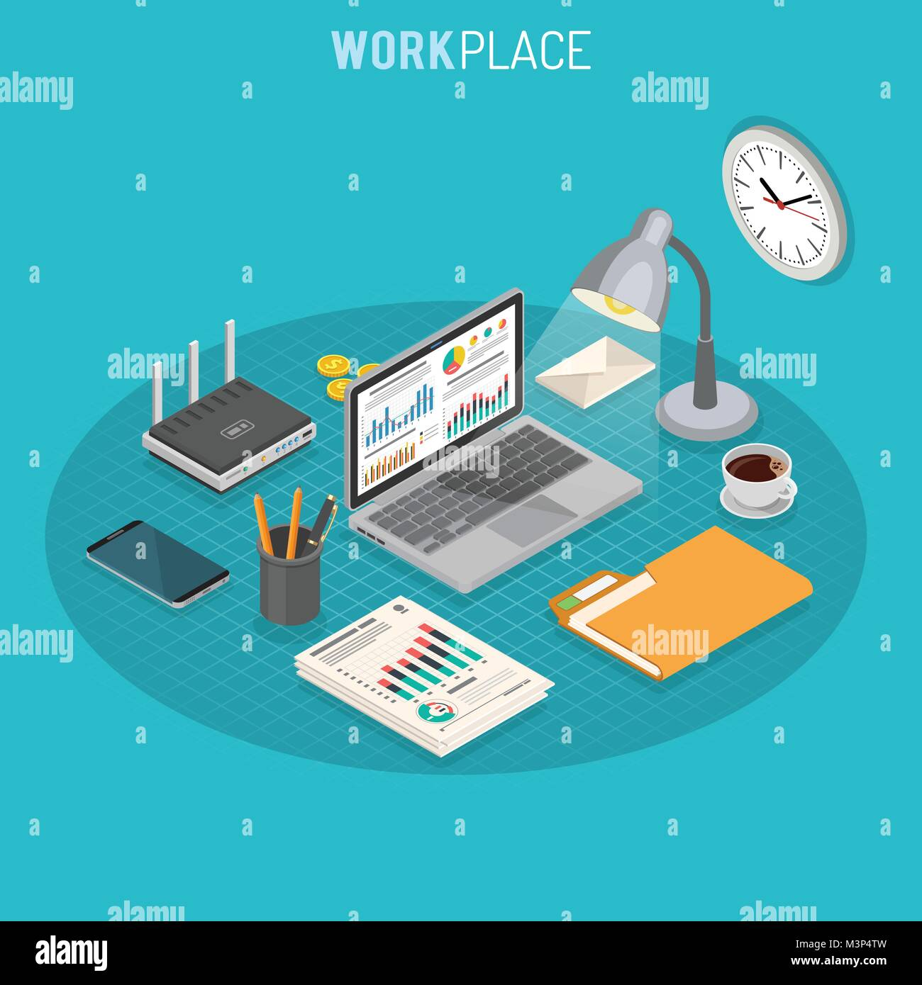 Workplace Isometric Concept - Stock Image