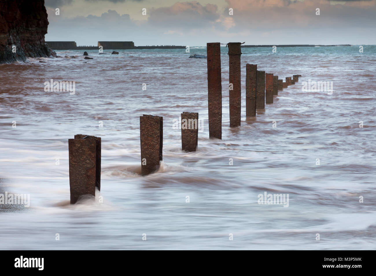North beach on Heligoland with decayed pier - Stock Image