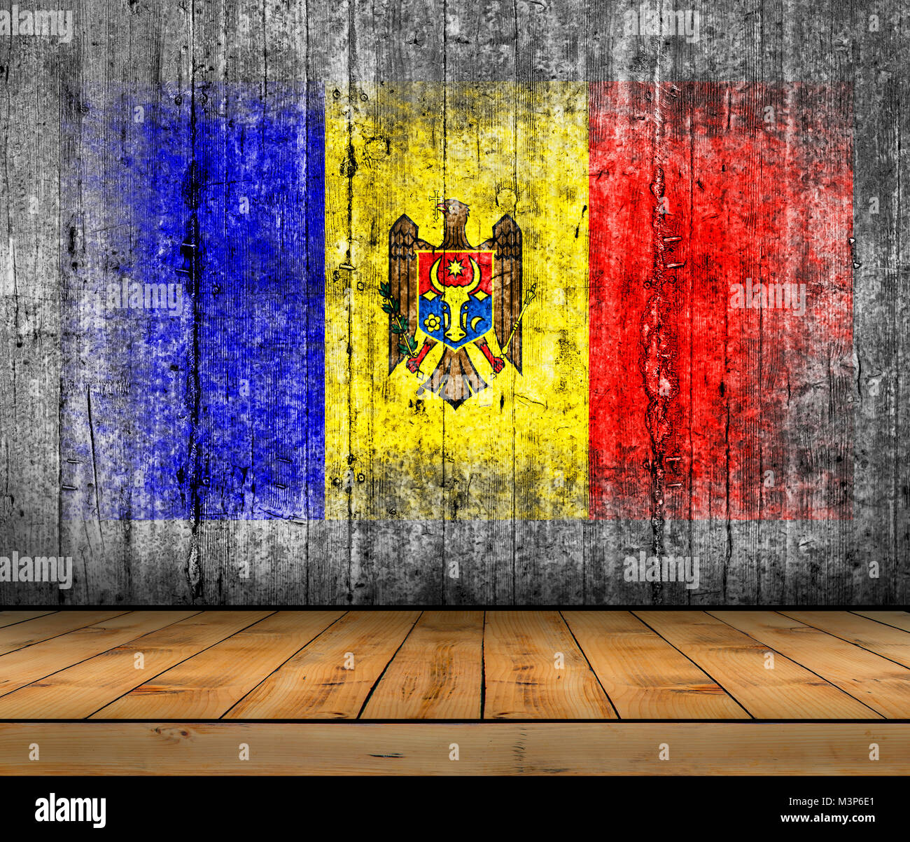Moldova flag painted on background texture gray concrete with wooden floor - Stock Image