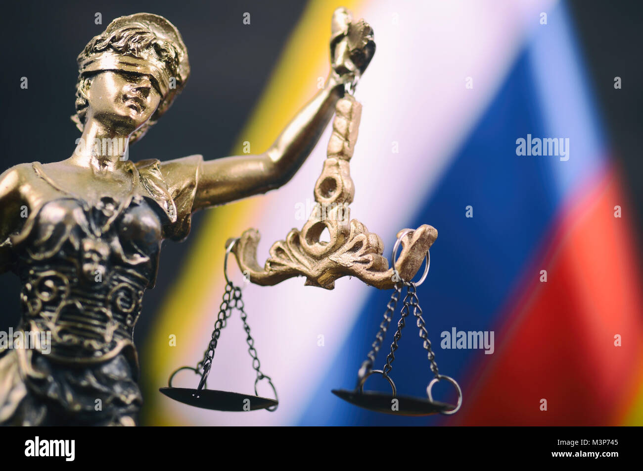 Law and Justice, Legality concept, Scales of Justice, Justitia, Lady Justice in front of the Russian flag in the - Stock Image